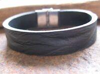 Wasserbüffel Leder Armband Herren Männerarmband schwarz Lederarmband Edelstahl