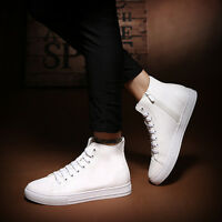 Men's Lace Up Boots Sneakers Ankle High Boots Shoes Leather Flat Shoes EU38-43