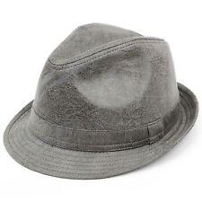 Trilby Hat GREY Distressed Vintage Effect Fedora Cap Brim Unisex