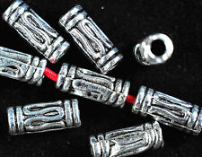 30 x ANTIQUE SILVER~TUBE~HOLLOW~TIBETAN STYLE~SPACER BEADS,11 x 4 MM,HOLE~2.5MM