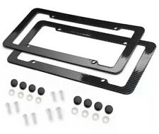 Black Car Carbon Look License Plate Frame Cover Front Amp Rear Universal