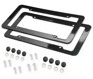 Black Car Carbon Look License Plate Frame Cover Front & Rear Universal