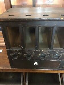 Antique American Ash Shot Cabinet Holds 8 Sizes Of Shot - Circa 1880