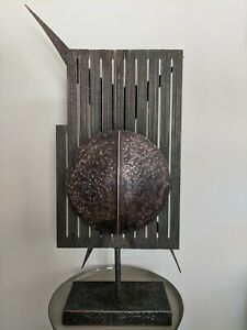 Mid-century modern LARUCCIA 1965 Signed Abstract Kinetic Copper Sculpture