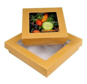 Premium Cardboard Takeaway Boxes with Lid - Container Disposable Leakproof Eco