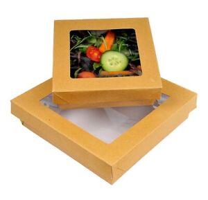 Premium Brown Kraft Boxes with Lid - Takeaway Food Disposable Eco Leakproof