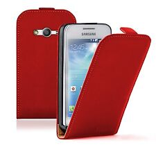 Ultradelgada Cuero Rojo Estuche Cubierta para Samsung Galaxy Ace 4 SM G357 (+2 comprimidos)