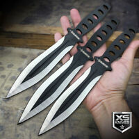 "3pc Throwing Knives 8"" Black 440 Stainless Knife SET Ninja Naruto Kunai + Sheath"