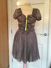 Christopher Kane For Topshop Grey Pleated Silk Skater Dress Neon BNWT