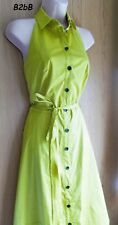 NewWT Karen Millen lime green cotton halter neck 50s shirt dress DY192 UK 14