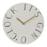 Gin O Clock Wall Hanging Analogue Round Time Piece Vintage Style Novelty Quartz