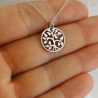 Round Tree of Life Charm Necklace - 925 Sterling Silver Vines Leaves Family NEW