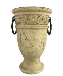 """Three Hands Stone Look Urn Planter Vase 10"""" Rustic Two Metal Rings"""