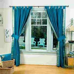 Indo Turquoise Tab Top Sari Sheer Curtain (43 in. x 84 in.) w/ matching tieback