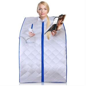 SereneLife Portable Infrared Home Spa 1 Person Steam Sauna with Foot Heating Pad