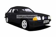 FORD ESCORT XR3i  CAR ART PRINT PICTURE (SIZE A3). PERSONALISE IT!