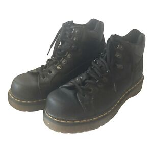DR DOC MARTENS 10962 Black Combat Motorcycle  Unisex Lace-Up Boots 9M 10W