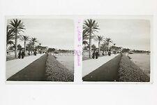 Cannes Promenade Plaque verre stéréo Vintage Positif 6x13cm