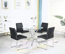 Runder Tisch und 2/4 Stühle Set für Küche Esszimmer Wohnzimmer Büro, Schwarz