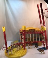 Vtg 1962 Fisher Price Circus Pull Toy Animals Cage Train Car Ring Master Ladders