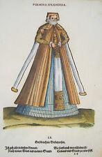Jost Amman Tracht vornehme Frau  seltener alter kolorierter Holzschnitt 1577