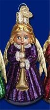 PURPLE ANGEL WITH HORN OLD WORLD CHRISTMAS GLASS ANGELIC MUSICAL ORNAMENT 10205