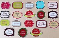 Christmas Greetings / Sentiments Card Making Toppers - Glossy finish pack of 18