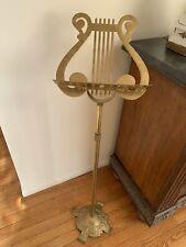 "Vintage Solid Brass Adjustable Music Stand Lyre Harp Design 47"" Victorian Style"