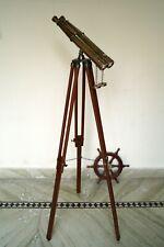 Nautical replica brass victorian 1920' century binoculars antique wooden tripod