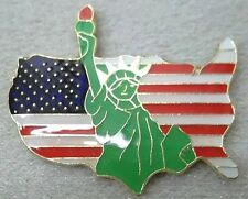 Usa American Flag Shaped Lapel, Hat or Tie-Tac Pin With Statue of Liberty New