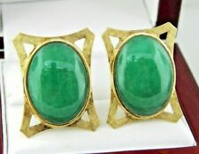 14K Yellow Gold Oval Natural Jade Clip on for Pierced Ears Earring