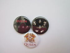 """QUEEN X 3 - NOVELTY  -1""""  Button Badges- music- free uk postage*"""