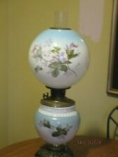 Antique Electrified Converted Gone With The Wind Oil Kerosene Lamp Soft Pastels