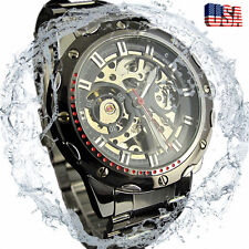 Men's Stainless Steel Band Skeleton Automatic Mechanical Waterproof Wrist Watch