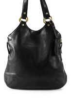 Yves Saint Laurent Leather Side Zip Gold Tone Hardware Tote Handbag Black