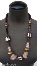 Vintage 1970's African Pink Gemstone Costume Jewelry Necklac7