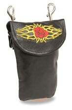 Ladies Premium Leather Flame Rose Purse Clip On Pouch Bag Motorcycle Biker Rider