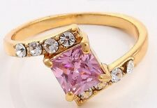 18K GOLD FILLED PINK SAPPHIRE ENGAGEMENT RING. SIZE P. UK STOCK