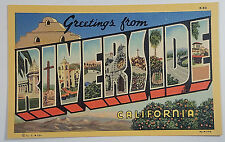 Vtg Big Letter Linen Postcard Riverside California