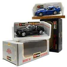 Lot of 2 BURAGO DIECAST CARS 1:18 Scale BMW M ROADSTER #3349 Dodge Viper #3030