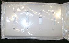 (75) 4-Gang Toggle Switch Wallplates -- White - NEW - Leviton - light wallplate