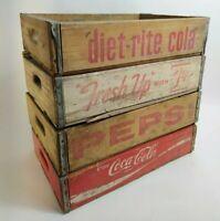 Lot Of 4 Wooden Soda Crates Pepsi Coca Cola 7 Up Diet Rite Vintage Advertising