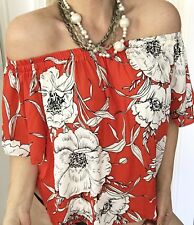 EBBY ANDI WOMENS BLOUSE OFF SHOULDER FLORAL ORANGE WHITE  RAYON SZ M