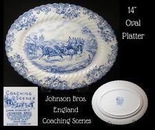 "JOHNSON BROS. England-COACHING SCENES-Blue-14"" OVAL SERVING PLATTER"
