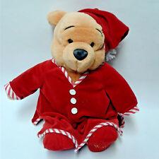 "Walt Disney Winnie the Pooh Christmas Plush Animal Red Slippers Pajamas Hat 14"""
