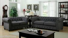 Traditional Formal Rolled Arm Gray Leatherette Fabric 3 Pc Sofa Love Seat Chair