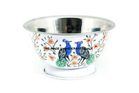 Peacock Hand Painted Stainless Steel Bowl Catering Washing Mixing Bowl Flat Base