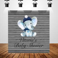 Elephant Backdrops Baby Shower Children 1st Birthday Party Grey Wood background