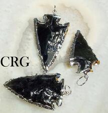 Silver Plated Black Obsidian Arrowhead Pendant #Vg8889