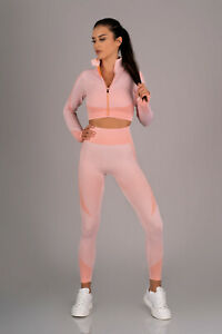 MERRIBEL 714 Luxury Super Soft Gym Top, Padded Sports Bra and Matching Leggings
